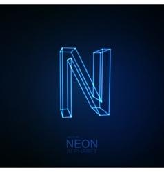 Neon 3D letter N vector image