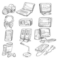 pencil drawing electronic gadget vector image