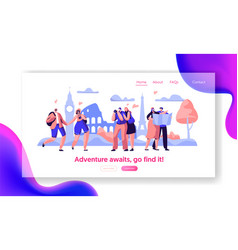 People group travel take photo sight landing page vector