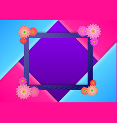 Photoframe with flowers at the corners vector
