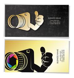 Photographer golden business card concept vector