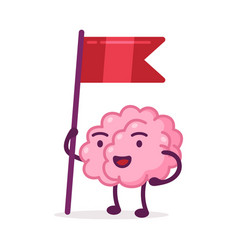 pink brain standing with red flag funny human vector image