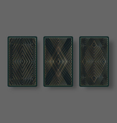 Playing cards back set with geometric pattern vector
