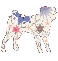 Pug dog vintage vector