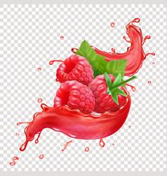 raspberries in splashing red juice vector image