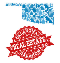 Real estate collage of mosaic map of oklahoma vector