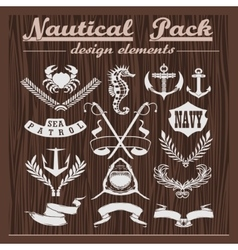 Retro pack of nautical elements logos and badges vector