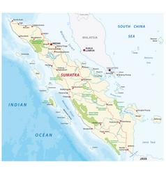 Road map indonesian island sumatra vector