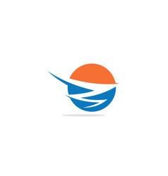 round abstract colored horizon logo vector image