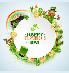 saint patricks day round frame vector image
