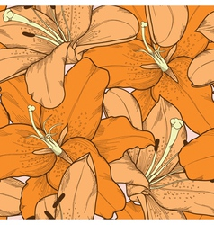 Seamless background orange lilies hand-drawing vector