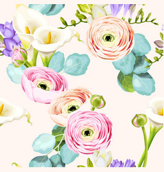 Seamless pattern with calla and ranunculus vector