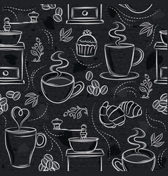 Seamless patterns with coffee set cup heart vector