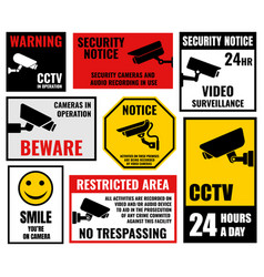 Security camera signs cctv stickers vector