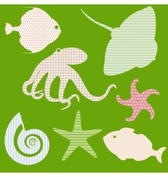 Set 3 of fish silhouettes with simple patterns vector