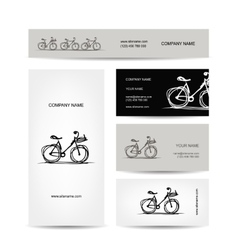 Set business cards design with bicycle sketch vector