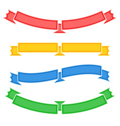 Set of colored isolated long and short ribbon vector
