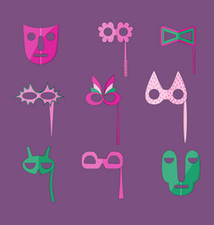 Set of flat style masks with outlines vector