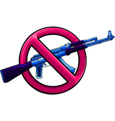 Silhouette assault rifle with sign over vector