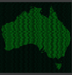 Silhouette of australia from binary digits on vector