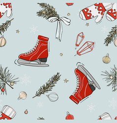 skate fir bow pattern handdrawn repetiotion vector image