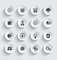 Solar energy sun powered energetics icons set vector