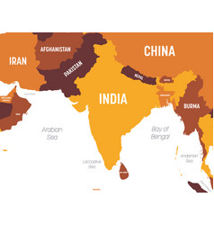 South asia map - brown orange hue colored on dark vector