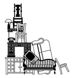 Stack of furniture vector