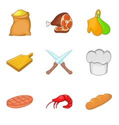 steak icons set cartoon style vector image