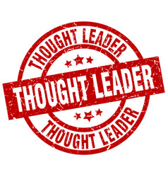 thought leader round red grunge stamp vector image