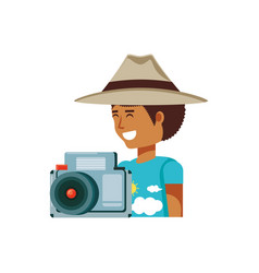 tourist man with hat and camera vector image