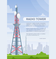 Tower radio flat poster template vector