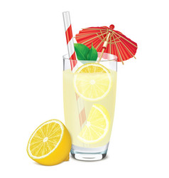 Transparent glass of lemonade with lemons leafs vector