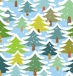 Tree in snow seamless pattern Snowstorm in forest vector
