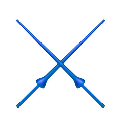 two crossed lances in blue design vector image