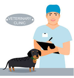 veterinarian and dog on examination table in vet vector image
