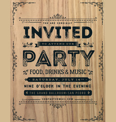 vintage party invitation sign vector image