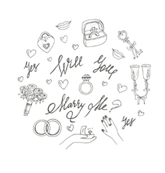 wedding set Marry me ring flowers cake vector image