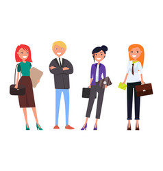 well-dressed employers in expensive suits business vector image