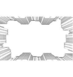 wireframe of high-rise buildings contour of vector image