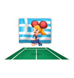 A cheerdancer in front of the flag of greece vector