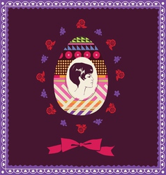 easter post card with woman portret vector image