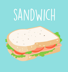 fresh ham sandwich graphic vector image vector image