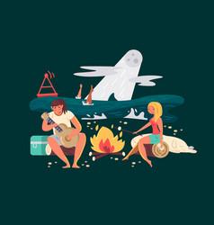 night picnic on beach vector image
