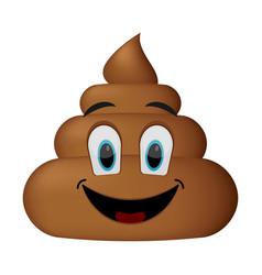 shit icon smiling face poop emoticon vector image vector image
