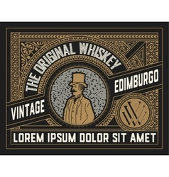 Whiskey label with old ornaments layered vector image vector image