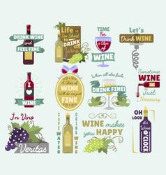 wine vintage old retro look style logo badge vector image