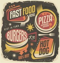 Burger pizza hot dog unique labels on black chal vector image