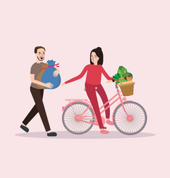 Couple buy vegetable riding bicycle happy healthy vector