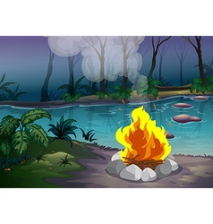 Forest and fire vector image vector image